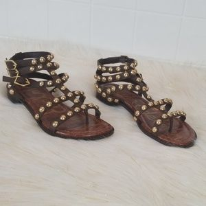 Sam Edelman size 6 ankle wrapped studded sandals